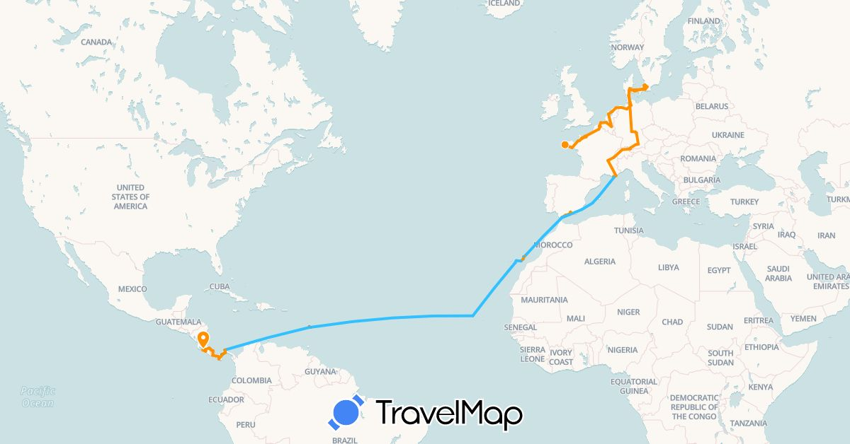 TravelMap itinerary: driving, bus, boat, hitchhiking in Austria, Belgium, Switzerland, Costa Rica, Germany, Denmark, Spain, France, Gibraltar, Morocco, Netherlands, Panama, Sweden (Africa, Europe, North America)